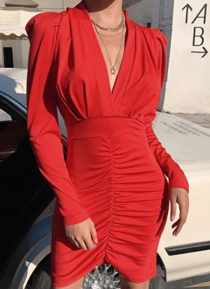 Rochie rosie scurta eleganta cu decolteu in v si fusta incretita