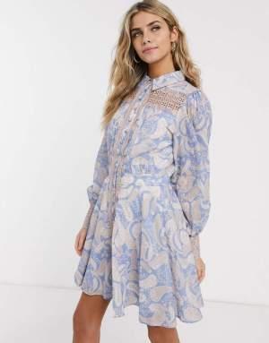 Rochie scurta eleganta timp camasa cu imprimeu colorat