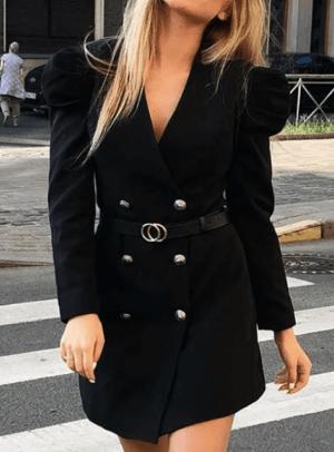 Rochie scurta neagra eleganta tip blazer