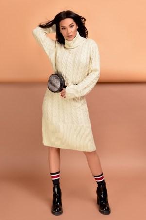 Rochie trei sferturi bej din tricot