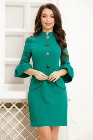 Rochie verde cu nasturi decorativi si maneci cu mansete tip clopot