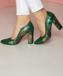 Pantofi verzi cu imprimeu nervuri de frunze cu varf ascutit