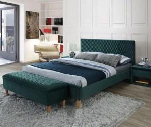 Pat dormitor din catifea verde albastrui 160x200 cm