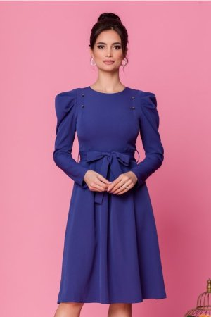 Rochie albastra cu nasturi decortivi la bust si cordon in talie