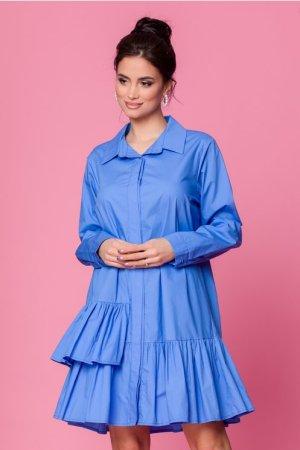 Rochie albastra cu volanase