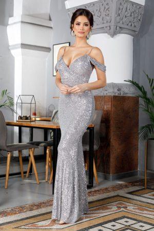Rochie de ocazie eleganta lunga argintie din tull si paiete cu decolteu V