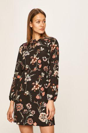 Rochie de zi scurta neagra cu imprimeu floral