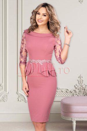Rochie eleganta de ocazie conica midi cu maneci din tul si peplum in talie