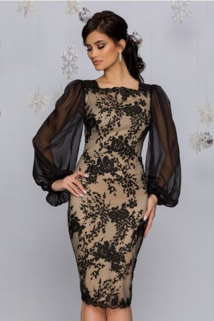 Rochie eleganta de ocazie midi bej cu tull negru brodat si maneci din tull
