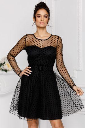 Rochie eleganta de ocazie neagra baby doll din tull cu buline din catifea