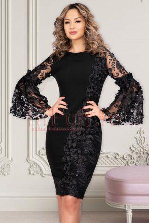 Rochie eleganta de ocazie neagra midi conica din stofa cu broderie florala