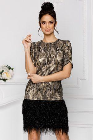 Rochie eleganta de ocazie scurta animal print accesorizata cu franjuri