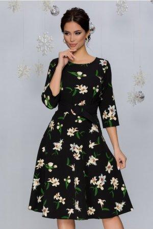 Rochie eleganta in clos midi neagra cu imprimeu floral si decolteu rotund