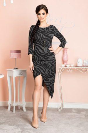 Rochie eleganta midi asimetrica cu imprimeu si maneci trei sferturi