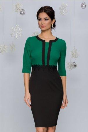 Rochie eleganta midi conica neagra cu bustul verde deschis si broderie