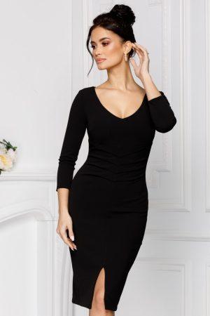 Rochie eleganta midi conica neagra cu pliuri in talie si decolteu adanc