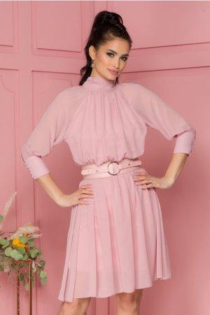 Rochie eleganta midi in clos roz pal cu guler si decupaj la spate