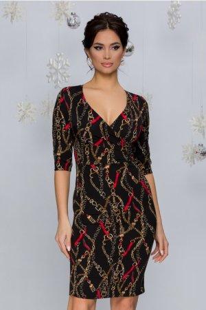 Rochie eleganta midi neagra cu decolteu petrecut si imprimeu auriu rosu