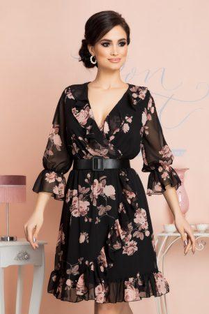 Rochie eleganta midi neagra cu imprimeu floral si decolteu petrecut in V