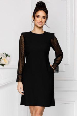 Rochie eleganta scurta neagra in clos cu maneci lungi si decolteu rotund