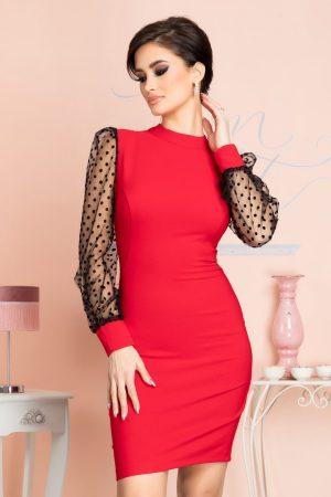 Rochie eleganta scurta rosie cu maneci lungi din tull si buline din catifea