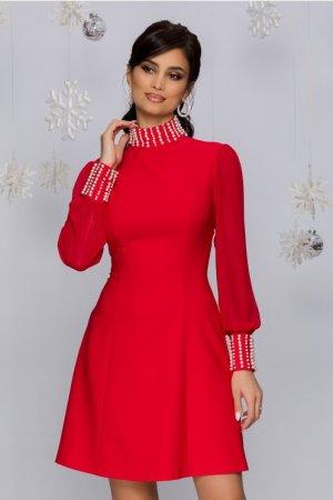Rochie eleganta scurta rosie in clos cu perle la guler si mansete