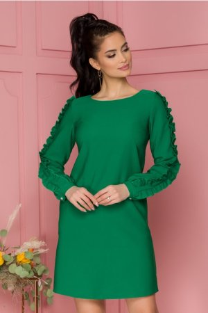 Rochie eleganta scurta verde cu volanase pe maneci si decolteu rotund