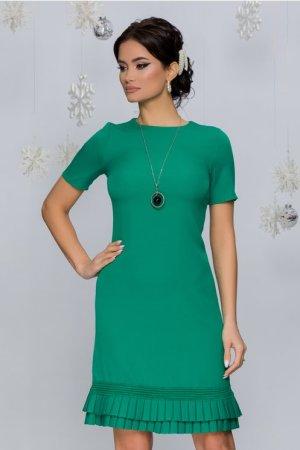 Rochie eleganta scurta verde cu volanase plisate la baza si decolteu rotund