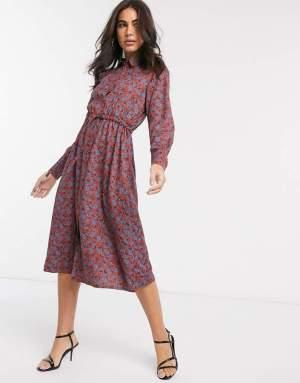 Rochie midi cu imprimeu colorat si snur la talie