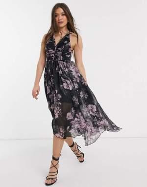Rochie midi din voal neagra cu imprimeu floral