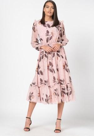 Rochie midi evazata eleganta cu imprimeu floral