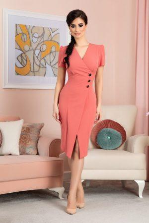 Rochie midi roz prafuit eleganta petrecuta la bust