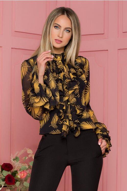 Bluza neagra cu frunze galbene si volane pe bust