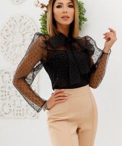 Bluza neagra din organza cu detalii sofisticate