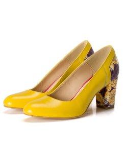 Pantofi eleganti cu imprimeu pe partea din spate si toc