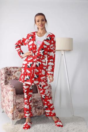 Pijama dama ieftina rosie cu roz compusa din halat, tricou si pantaloni lungi cu imprimeu Unicorn