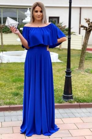 Rochie de zi eleganta lunga albasta cu umeri lasati si elastic la talie