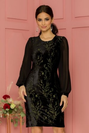 Rochie eleganta conica neagra din catifea cu broderie si decolteu rotund