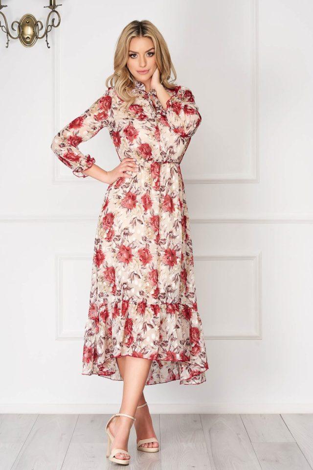 Rochie eleganta crem asimetrica din voal cu imprimeu floral si maneci lungi