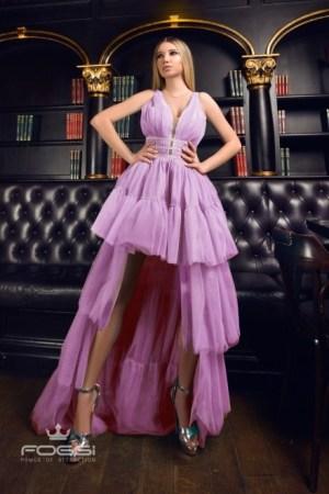 Rochie eleganta de ocazie asimetrica in clos din tulle cu strasuri