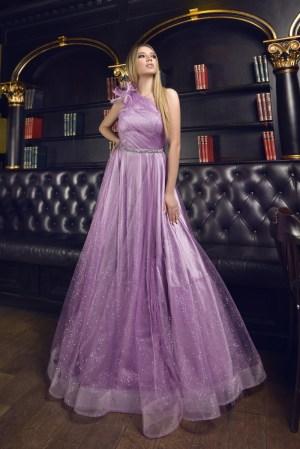 Rochie eleganta de ocazie lunga din tulle si funda supradimensionata