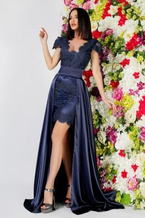 Rochie eleganta de ocazie scurta din dantela bleumarin cu trena detasabila