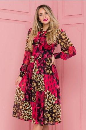 Rochie eleganta midi in clos neagra cu imprimeu rosu si animal print