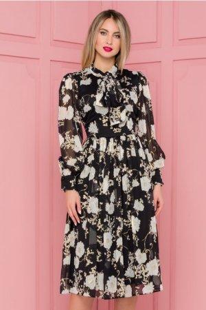 Rochie eleganta midi in clos neagra cu imprimeuri florale si detalii aurii