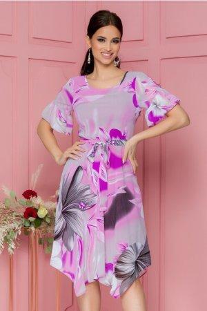 Rochie eleganta midi lila in clos cu imprimeu floral si decolteu rotund
