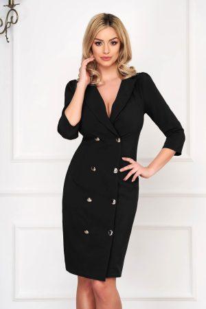 Rochie eleganta midi petrecuta neagra tip sacou accesorizata cu nasturi
