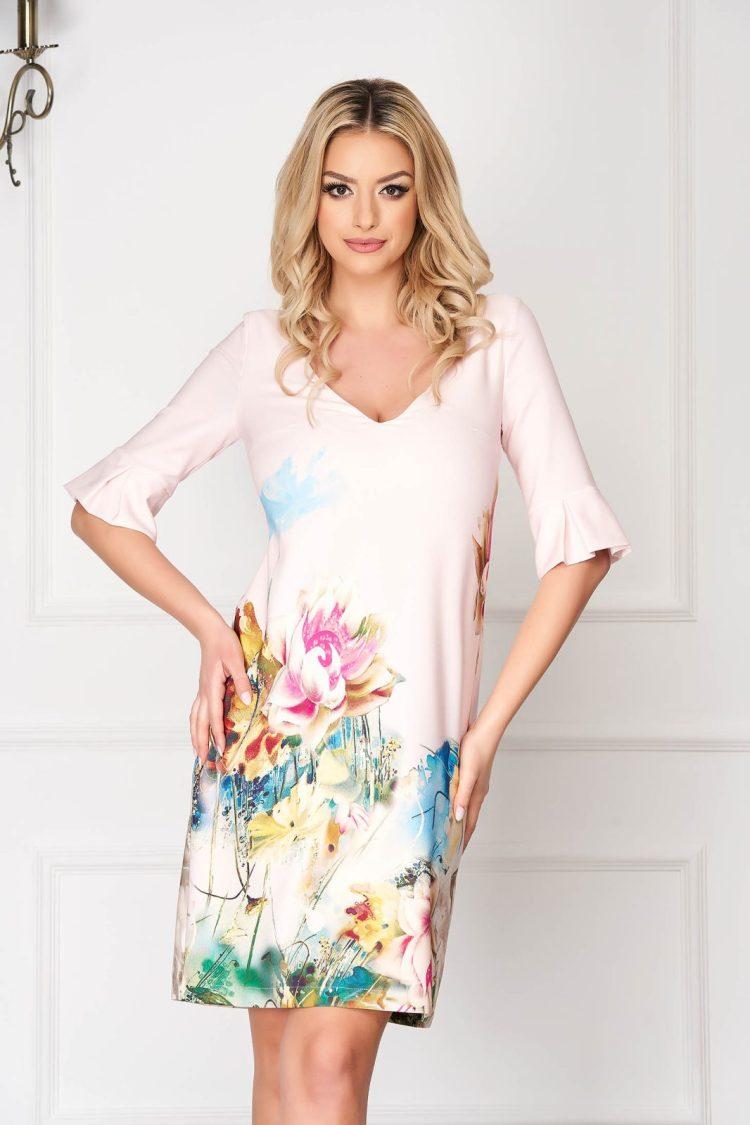 Rochie eleganta midi roz deschis cu croi larg si imprimeu floral