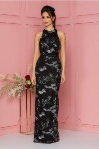 Rochie eleganta neagra lunga din tull cu broderie si paiete