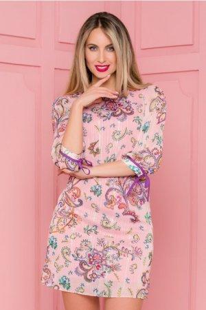 Rochie eleganta roz cu imprimeu floral multicolor si insertii din lurex