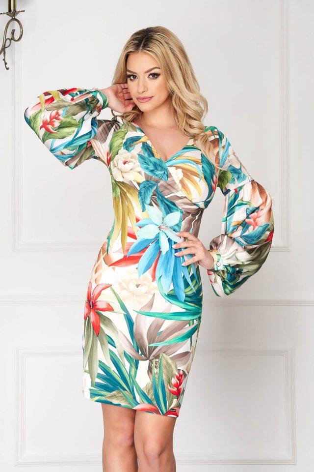 Rochie eleganta scurta crem mulata cu imprimeuri florale si maneci bufante